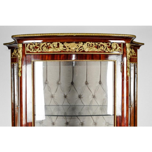 American Classical Vintage Sand Burl Wood Mahogany Hutch Cabinet or Vitrine For Sale - Image 3 of 12