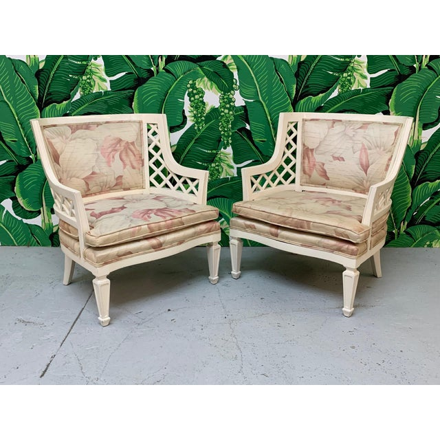 Wood Hollywood Regency Lattice Club Chairs - a Pair For Sale - Image 7 of 7