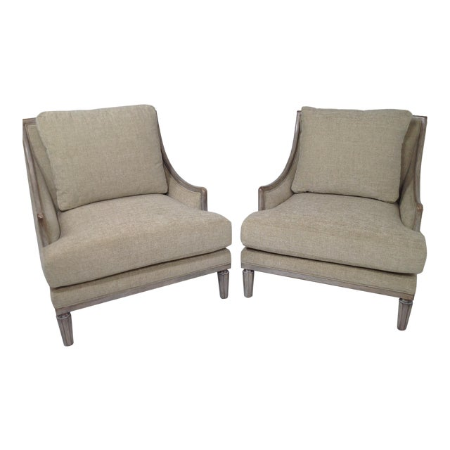 Chenille Ceruse Gray Lounge Chairs - A Pair For Sale - Image 9 of 9
