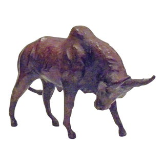 Vintage Mid-Century Paper Mache Bull Sculpture For Sale