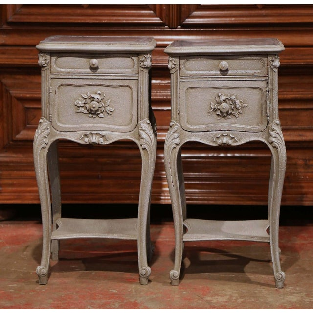 Pair of 19th Century French Louis XV Carved Painted Nightstands With Marble Top For Sale - Image 10 of 10