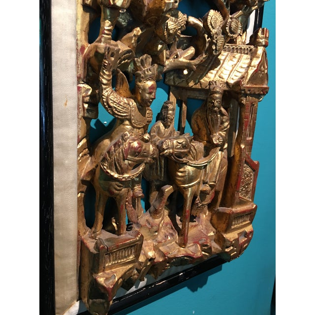 19th Century Carved Chinese Giltwood Wall Panel For Sale In Savannah - Image 6 of 10