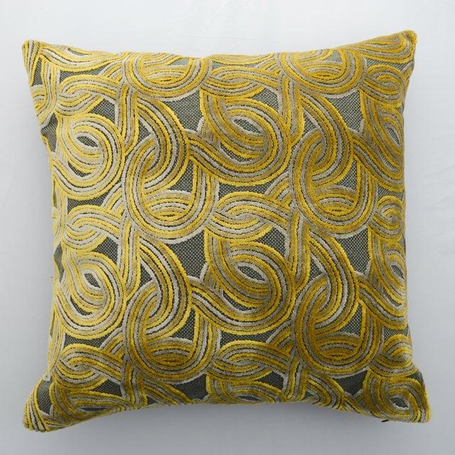 FirmaMenta Italian Damask Green & Yellow Velvet Pillow - Image 5 of 6