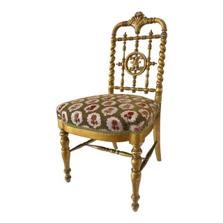 Late 19th Century Gilt Carved and Turned Wood Chair For Sale