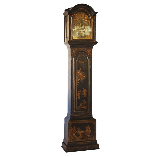 George II Japanned Chinoiserie Longcase Clock by John Crouch, Knightsbridge For Sale