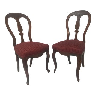 Antique Upholstered Wooden Dining Chairs - a Pair For Sale