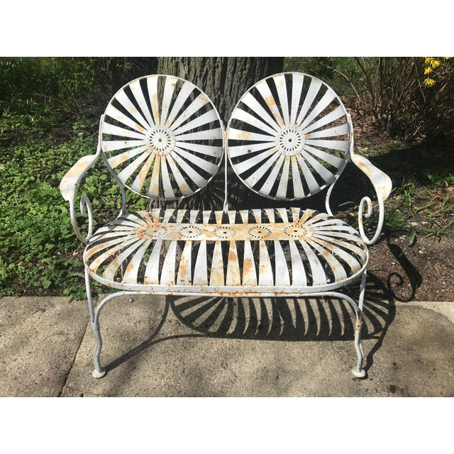 Francois Carre Francois Carre French Sunburst Garden Bench For Sale - Image 4 of 13