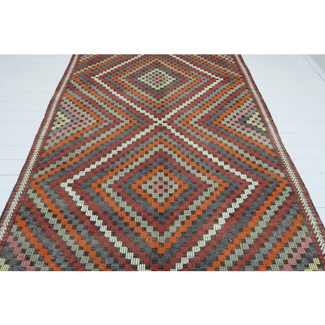 "Art Deco Vintage Turkish Kilim Rug-6'4'x9'2"" For Sale - Image 3 of 13"