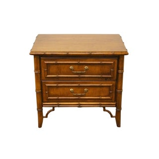 """Stanley Furniture Asian Style Faux Bamboo 26"""" Commode / Nightstand For Sale"""