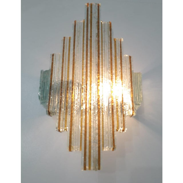 Orange Murano Glass Icicles Stacked Sconces by Poliarte - a Pair For Sale - Image 8 of 9