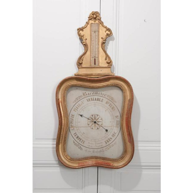 French French 19th Century Gold Gilt Barometer For Sale - Image 3 of 13