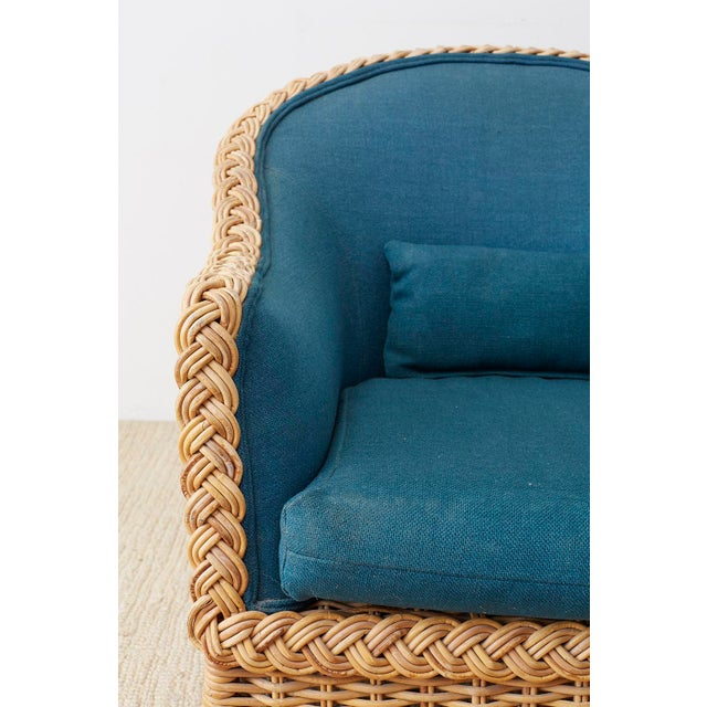 McGuire Pair of McGuire Rattan Wicker Lounge Chairs and Ottoman For Sale - Image 4 of 13