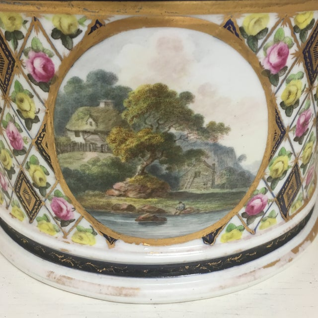 1800's Hand Painted Porcelain Rams Head Planter For Sale - Image 4 of 7