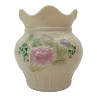 1980s Belleek Scallop Rimmed Vase For Sale