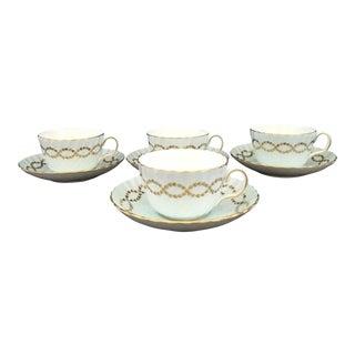 1940s Vintage Minton, England Bone China Aqua Blue, Gold Laurel Ring Teacups & Saucers - Set of 4 For Sale