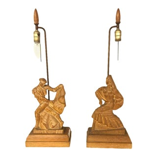 Art Deco Style Pickled Finish Wood Carved Table Lamps - a Pair For Sale