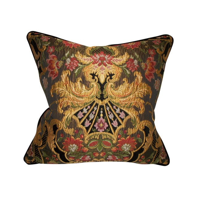Aubusson Chenille Tapestry Lampas Accent Pillow - Image 1 of 2