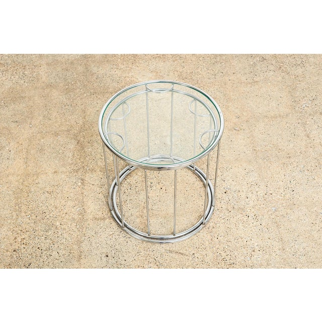 Transparent Mid Century Baughman Style Chrome & Glass Nesting Side Tables For Sale - Image 8 of 11