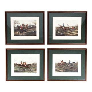 Late 19th Century Equestrian Forest Hunting Scenes Engravings - Set of 4 For Sale