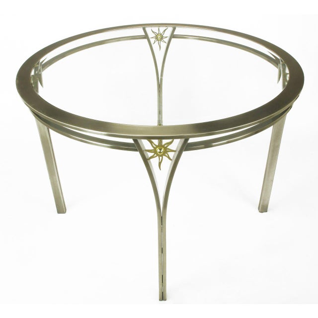 Contemporary DIA Round Brushed Steel and Brass Sunburst Dining Table For Sale - Image 3 of 8