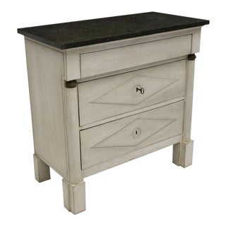 Painted White Directoire Style Commode With Black Marble Top, France, Circa 1930 For Sale