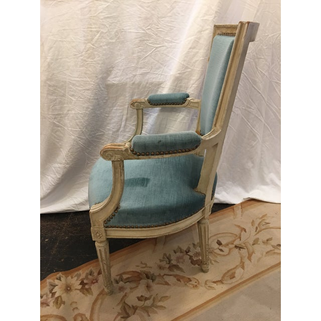 Paint Louis XVI Styled Painted Armchairs in Blue Velvet - a Pair For Sale - Image 7 of 10
