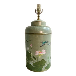 English Chinoiserie Style Tole Tea Caddy Lamp With Lotus Landscape