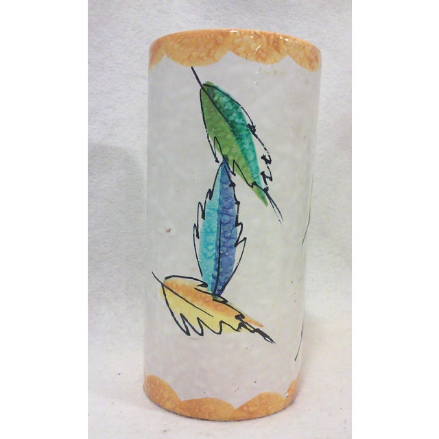 Mid-Century Modern Colorful Italian Ceramic Leaf Vase For Sale - Image 3 of 7