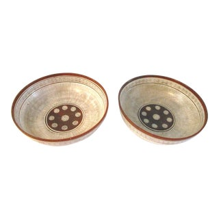 Vintage Mexican Redware Pottery Bowls - A Pair For Sale