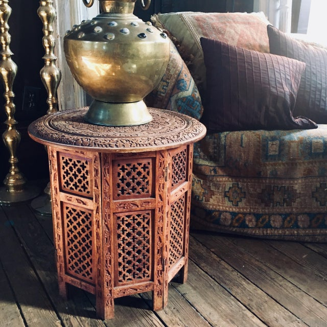 Wood 20th Century Moroccan Heavily Carved Folding Table For Sale - Image 7 of 7