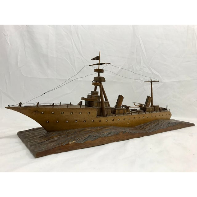 Wood French Folk Art Ship For Sale - Image 7 of 7