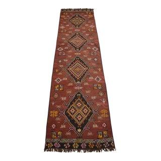Full Tribal Design Vintage Turkish Handmade Kilim Runner Rug - 3′6″ × 13′1″