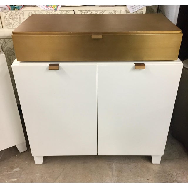 Drexel Drexel Heritage Gold and White Cabinet For Sale - Image 4 of 4