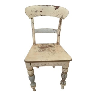 Vintage Shabby Chic Wooden Side Chair For Sale