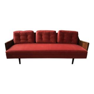 Adrian Pearsall Style Persimmon Red Velvet Upholstered Sofa