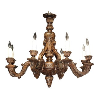 1910s French Louis XIV Style Carved Wood Chandelier For Sale