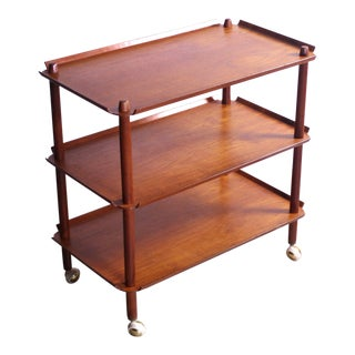 Expandable Poul Hundevad Mid Century Bar Cart For Sale