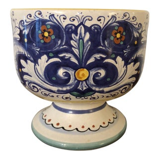 Italian Deruta Ceramic Faience Footed Bowl For Sale