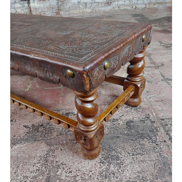 Antique Spanish Colonial Bench-Beautiful Carved Wood & Embossed Leather For Sale In Los Angeles - Image 6 of 10