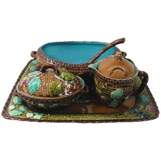 19th Majolica Strawberry Luneville Serving Set - 5 Pc. Set For Sale