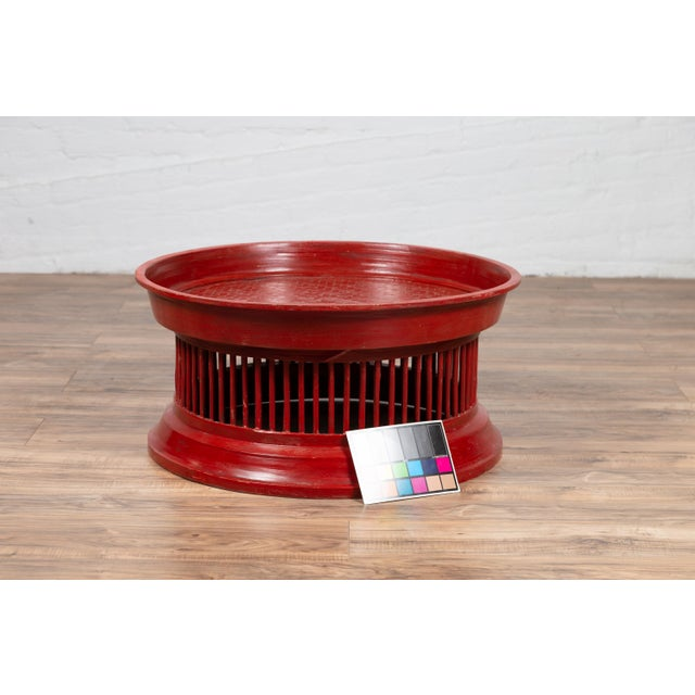 Contemporary Thai Red Lacquered Rattan Drum Coffee Table with Spindle Motifs For Sale - Image 9 of 10
