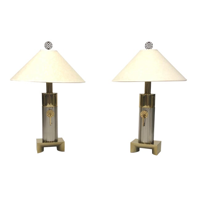 Laurel Brushed Chrome and Brass Asian Inspired Lamps - a Pair For Sale