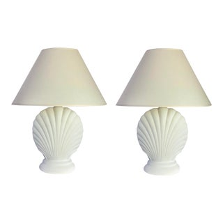 Plaster Clam Shell White Table Lamps - a Pair For Sale