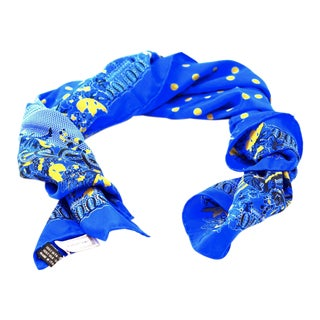 Gianni Versace Blue Polka Dot Silk Scarf For Sale