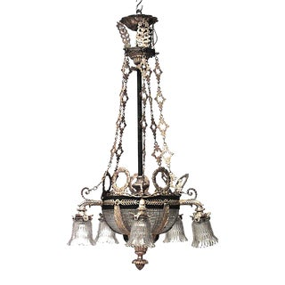 French Victorian Bronze Dore and Crystal Bowl Chandelier For Sale