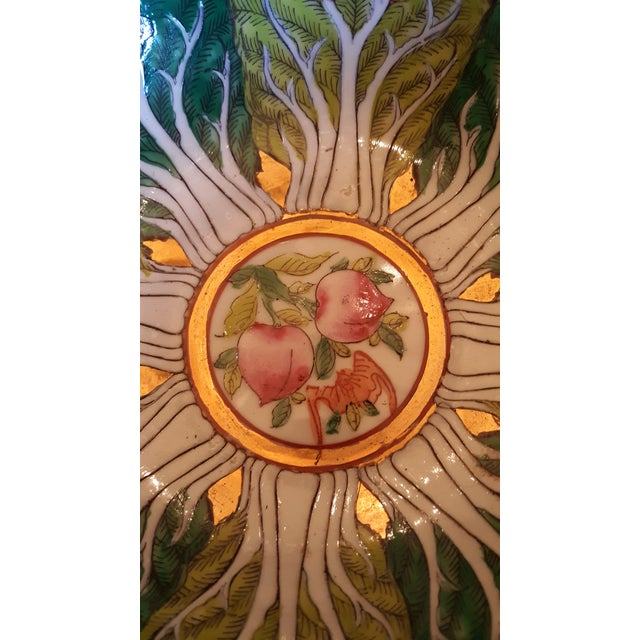 Ceramic Vintage Porcelain Butterfly and Bok Choy Leaf Bowl For Sale - Image 7 of 9