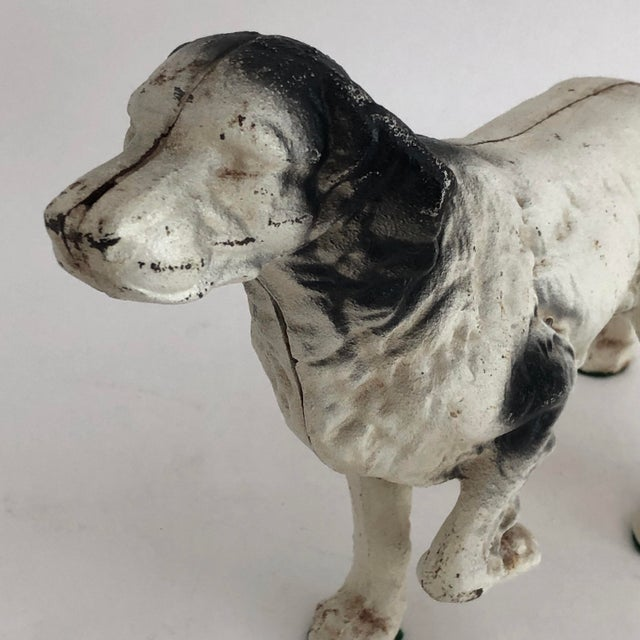 1930s Vintage Cast Iron Retriever Pointer Dog Doorstop For Sale - Image 5 of 6