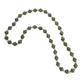Art Deco French Jet & Pearl OpEra Length Necklace, France 1920s For Sale