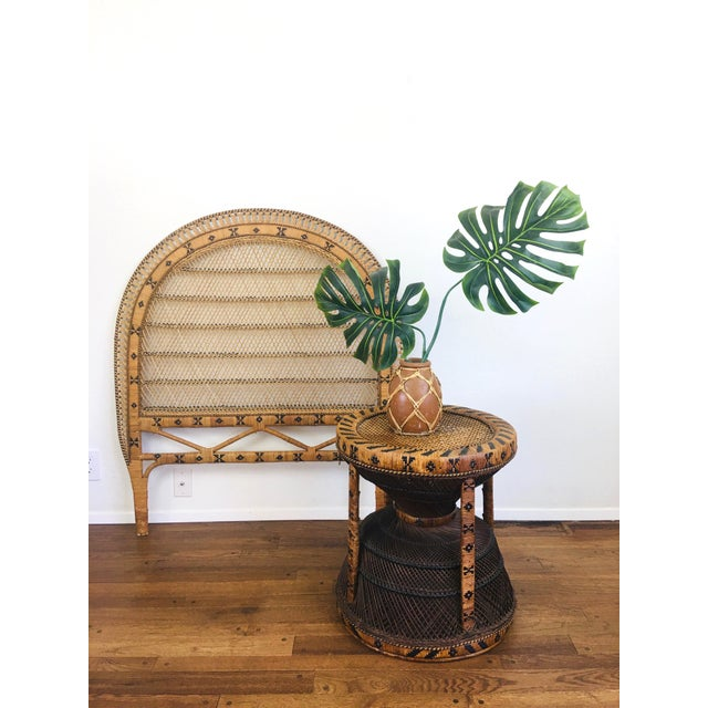 Vintage Bohemian Chic Peacock Table Made of Rattan/wicker Dark honey & whisky tone Bohemian Chic Style! Woven cane top