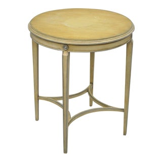 """Vintage 28"""" French Neoclassical Adams Style Mahogany Round Accent Side Table For Sale"""